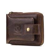 Bullcaptain RFID antimagnétique Vintage en cuir véritable 11 fentes pour cartes porte-monnaie à glissière pour hommes