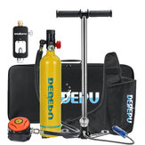 DEDEPU Scuba Diving Set 1L Diving Tank With Manual Pump+Breathing Valve+Converter Underwater Mini Scuba Tank Accessories