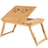 Support de bureau en bambou pour ordinateur portable Table de bureau motif fleur pliable petit déjeuner servant plateau de lit avec tiroir de rangement avec jambe réglable