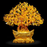 Gele Feng Shui-kristallen Edelstenen Fortune Tree Money Tree Wealth Blessing Home Decorations