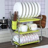 3段キッチン収納皿水切りラックカトラリー乾燥ホルダー水切りトレイ