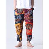 Mens Casual caviglia Lunghezza cotone moda stile etnico sciolto S-5XL fit elastico in vita Harem Pantaloni