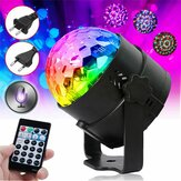RGB Self-propelled Flash Mode Remote/ Voice Control LED Stage Light Crystal Ball Disco Club DJ Part