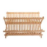 Rejilla de drenaje de 21 capas dobles de rejilla Escurridor de platos de madera maciza Soporte de almacenamiento de cubiertos Bandeja de goteo Cocina herramienta