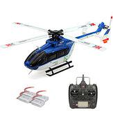 XK K124 2.4G 6CH Sin escobillas EC145 3D6G Sistema RC Helicóptero 4PCS 3.7V 700mAh Lipo Batería versión compatible con FUTAB-A S-FHSS