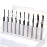 Drillpro DB-M3 10pcs 1.3mm-3.175mm Carbide End Mill Engraving Bits for CNC PCB Rotary Burrs