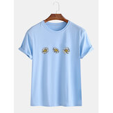 Loose Daisy Flowers Round Neck Short Sleeve Casual T-Shirts For Men Women