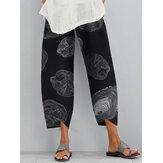 Bolsillo lateral con estampado de cintura elástica suelta casual Pantalones para Mujer