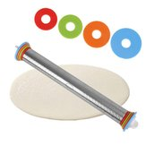 1pc Stainless Steel Rolling Pin 4 Adjustable Discs Non-Stick Removable Rings Dough Dumplings Noodles Pizza Baking Tools