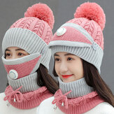 Women 3PCS Wool Plus Velvet Thicken Warm Windproof Neck Face Protection Riding Knitted Hat Mask Scarf
