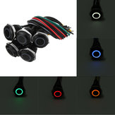 12V 16mm LED Metal Push Button Panel Momentary Switch Red/Blue/Green/Yellow/White