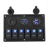12 V 6 Gang LED Rocker Switch Panel Stroomonderbrekers Oplader USB Voor Boot Marine