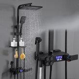 Termostatik Dijital Duş Seti Musluk Banyo Duş Sistemi Siyah Altın Duş Bataryası Kare Duş Başlığı Banyo Duş Sistemi