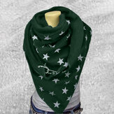 Women Cotton Plus Thick Keep Warm Winter Outdoor Casual Stars Pattern Multi-purpose Scarf Shawl