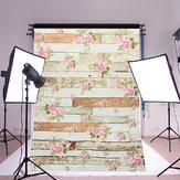 5x7FT Vintage Fleurs Roses En Bois Plancher De Mur Photo Studio Fond Toile De Fond Tissu