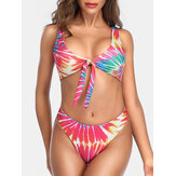 Women Colorful Print Tie Front Backless Wide Shoulder Straps Two Piece Hot Bikini