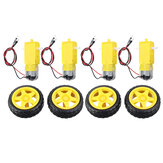 4 Pairs Smart Car Robot Plastic Tire Wheel with DC 3-6V Gear Motor for Arduino TT Motor + Tires for Home DIY