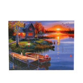 1 Piece LED Luminous Canvas Paintings Lighting Lake Cabin Wall Decorative Printing Art Picture Frameless Home Office Decoration