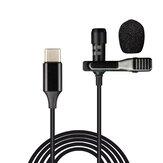 Bakeey USB Type-C mikrofon mini, kis hordozható, vezetékes, kapcsos hajtókás galléros Lavalier kondenzátor USB-C mikrofon a Type-C telefonokhoz