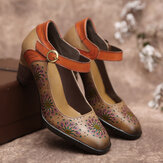 SOCOFY Leather Floral Hollow Buckle Ankle Strap Chunky Heel Pumps Dress Shoes