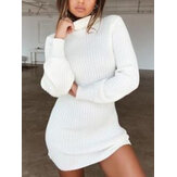 Frauen High Neck Solid Color Langarm Casual Sweater Kleid