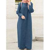 فستان تونيك دينم نسائي فضفاض غير رسمي اللون برقبة دائرية وأكمام طويلة