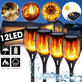 51CM 12LED Solar Flame Lawn Light Warm White Waterproof Outdoor Garden Fire Torch Lamp