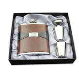 7oz Stainless Steel Portable Whiskey Hip Flask Foreskin Embossed Pot PU Leather Mini Jug Bottles Flagon Set Gift Box with Cup and Funnel
