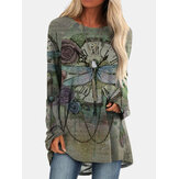 Vintage Floral Printed O-neck Long Sleeve Irregular Hem T-shirt For Women