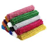 100PCS 10 Colors Decorative Ribbon DIY Glitter Plush Tinsel Stems Wired Sticks Kids Educational DIY Craft Supplies Toys Craft
