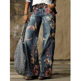 Women Vintage Floral Print Casual Loose Stylish Wide Leg Jeans