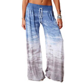 Women Tie Dye Print Ombre Drawstring Casual Wide Leg Pants
