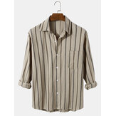Mens Vertical Stripe Cotton Relaxed Fit Button Up Long Sleeve Shirts With Pocket
