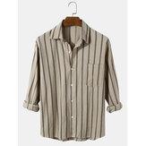 メンズ縦縞コットンリラックスフィットボタン付きポケット付き長袖シャツ