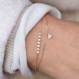 modaya uygun Kalp Kristal Charm Çok Katmanlı Bileklik