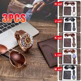 3PCS Herrenmode Geschenkset Business Style Quarzuhr + Brieftasche + Sonnenbrille Set
