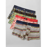 Mens Cotton Printing Thin Breathable Boyshorts 4Pcs Mid Waist Home Boxers