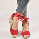 Women Casual Round Toe Wedge Heel Lace Up Sandals