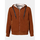 Mens Solid Color Fluffy Thick Warm Lamb Wool Lining Hoodie Jacket With Pocket