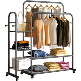 Multilayer Hanger Coat Rack Floor Standing Drying Rail Simple Storage Shelf Save Space for Bedroom