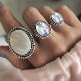 3Pcs/set Statement Silver Color Ring Set Big Gem Stone