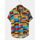 Heren vakantie kleurblok ademende casual shirts