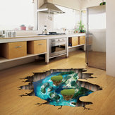 Miico Creative 3D Dream Float Sea Island Broken Wall Verwijderbare Home Room Decoratieve Muur Floor Decor Sticker