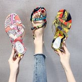 Season New Slope With Fashion Soft Bottom Wild Sandals And Slippers Flat With Printed Wild Outdoor Women's Slippers