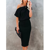 Women Solid Color Off Shoulder Elegant Bodycon Dress