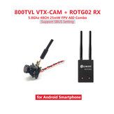Eachine ROTG02 + 7081U 800TVL AIO Câmera FPV Combo 5.8G 48CH 25mW Transmissor Câmera Receptor Conjunto Preto para Android Phone
