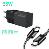 Carregador USB-C BlitzWolf® BW-S17 65W Carregador de parede PD3.0 Power Delivery com adaptador de plugue UE com cabo Baseus USB-C para USB-C PD3.0 de 100W para smartphone tablet laptop para iPhone 11 SE 2020 para iPad Pro 2020 MacBook Air 2020 Huawei P40