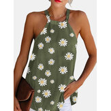 Daisy Print  Halter Sleeveless Summer Casual Tank Tops For Women