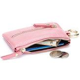 Echtes Leder Frauen Reißverschluss Kartenhalter Mädchen kleine Münzen Beutel Schlüsselketten Beutel