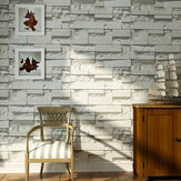 Pola Bata 3D Bertekstur Non-woven Wallpaper Sticker Latar Belakang Home Decor Sticker